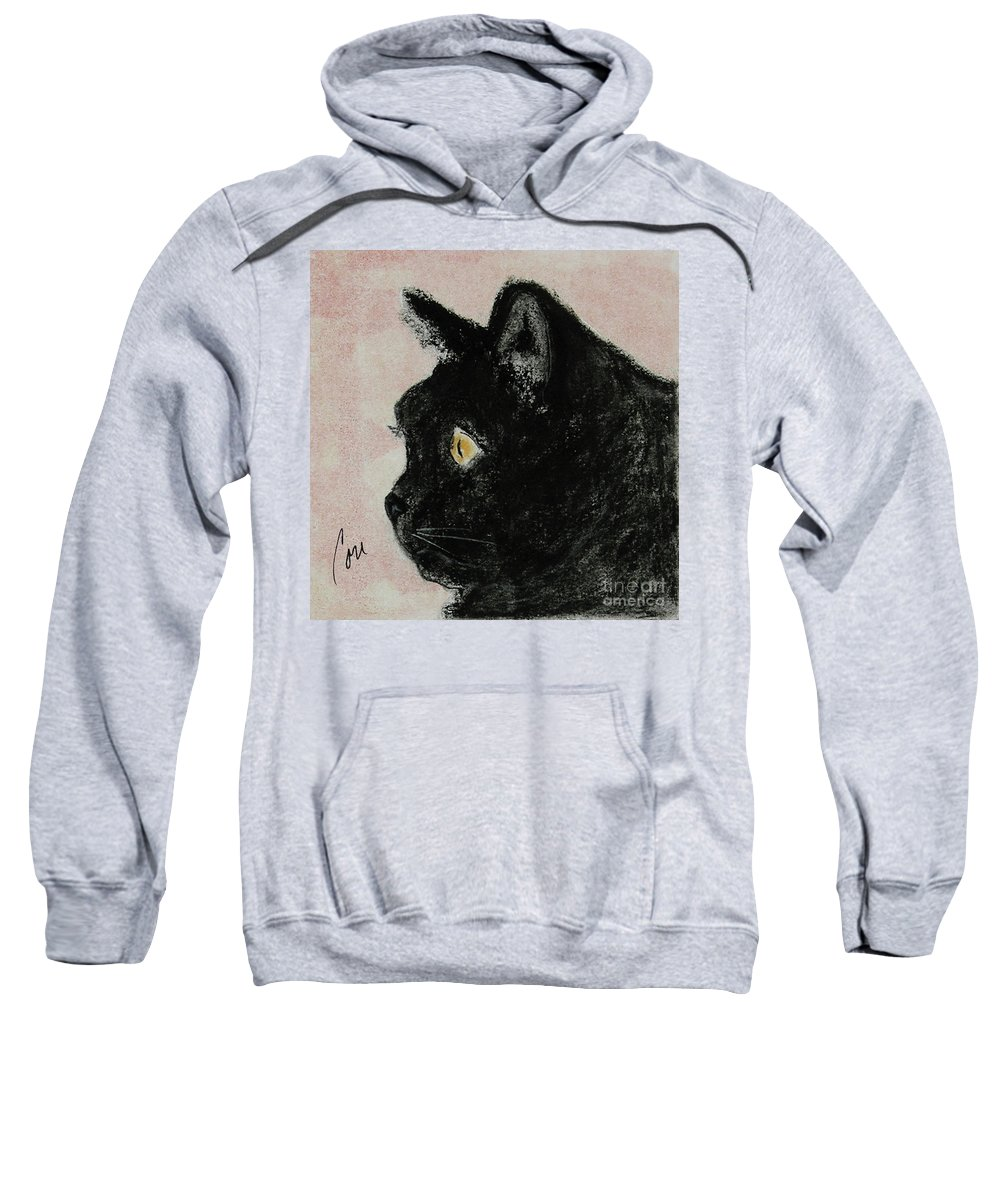 Pastels Sweatshirt featuring the mixed media A Purrfect Vision by Cori Solomon