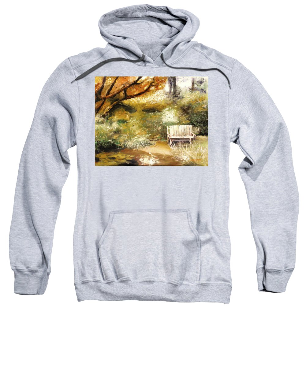 Ablaze Sweatshirt featuring the painting A Quiet Place by Melissa Herrin