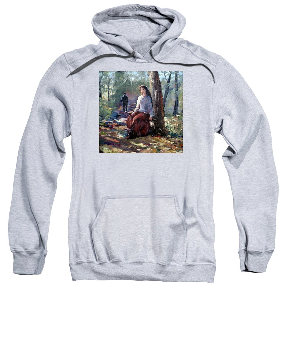 Woman In Park Sweatshirt featuring the painting A Quiet Season by Janet Lavida