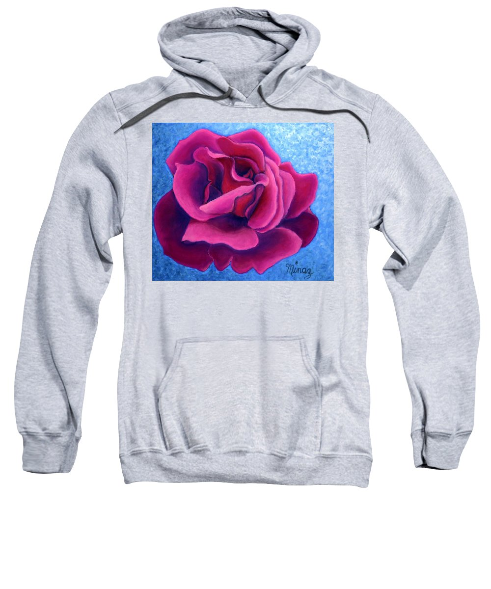 Rose. Pink Rose Sweatshirt featuring the painting A Rose Is A Rose.. by Minaz Jantz