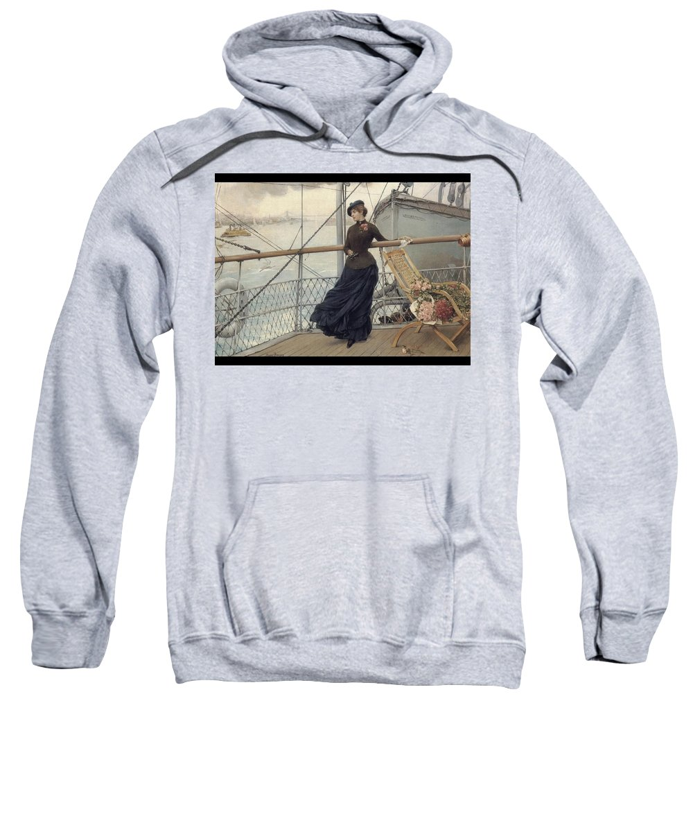 Bridge Sweatshirt featuring the digital art A Scottish Lady On A Boat Arriving In New York Henry Bacon by Eloisa Mannion