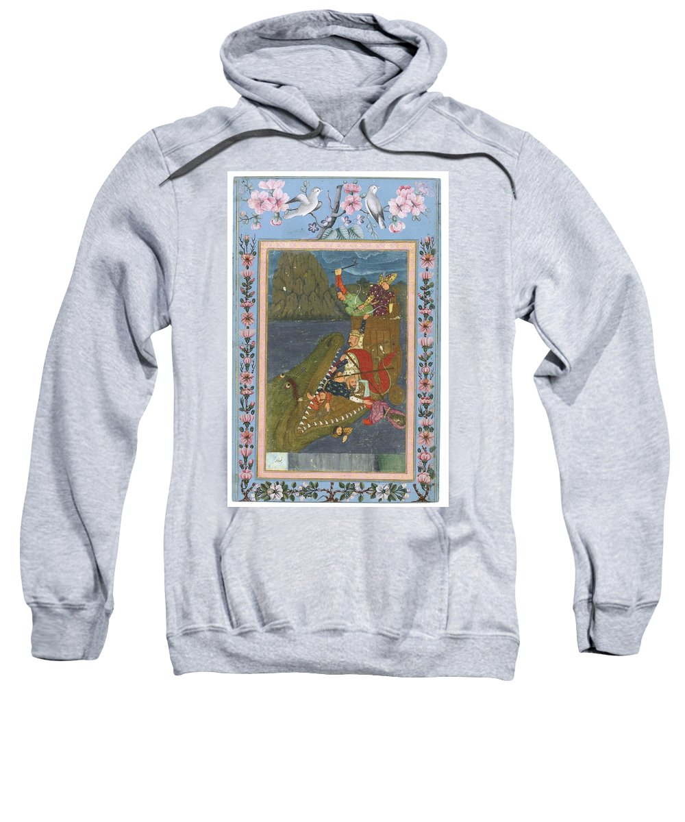 A Sea Monster Swallowing A Boat Sweatshirt featuring the painting A Sea Monster Swallowing A Boat by Eastern Accents