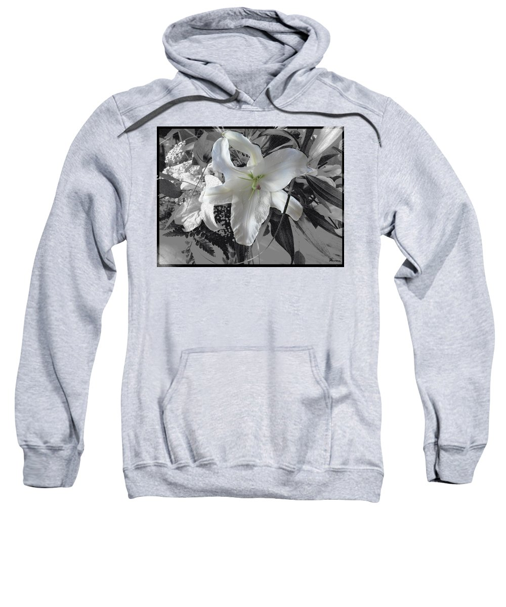 Lily Flowers Plants Nature Natural Flower Lilies Black And White  Sweatshirt featuring the photograph A Sense Of Purity by Andrea Lawrence