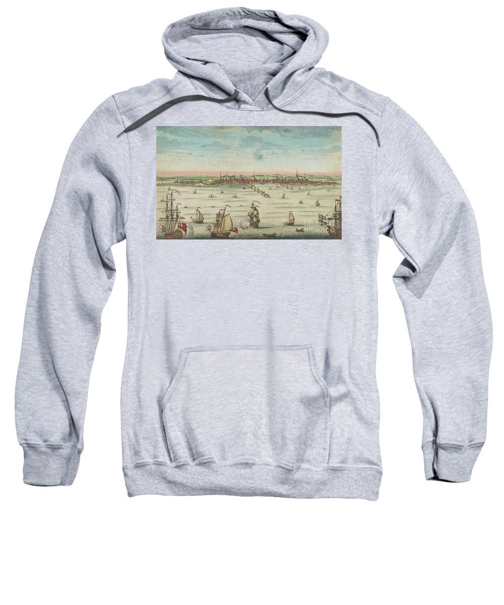 Boston Sweatshirt featuring the painting A South East View Of The Great Town Of Boston In New England In America, 1730 by John Carwitham
