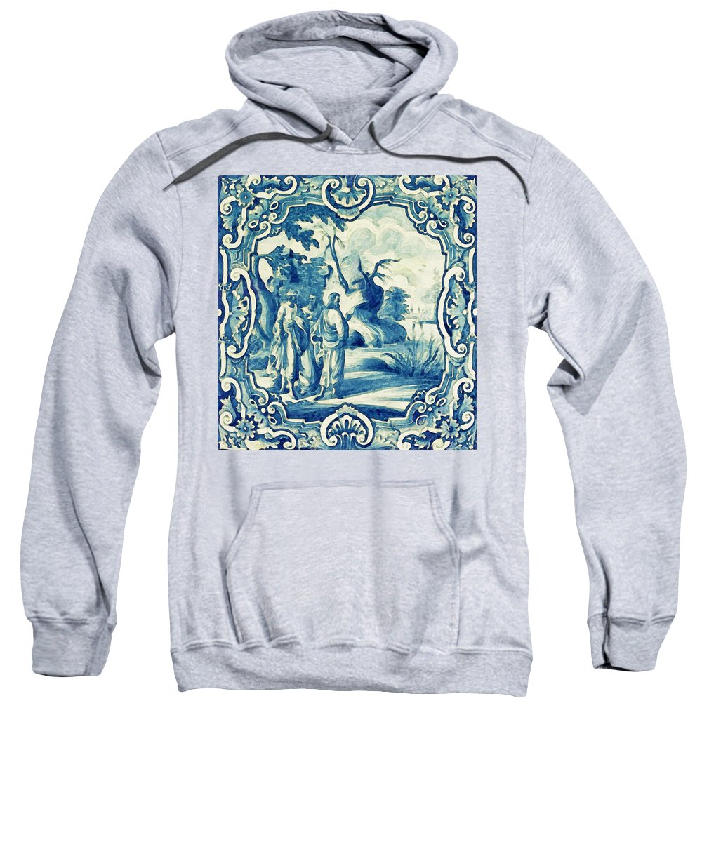 Man Sweatshirt featuring the painting A South-german Faience Stove Tile Second Half 18th Century, By Adam Asar, No 18a by Adam Asar