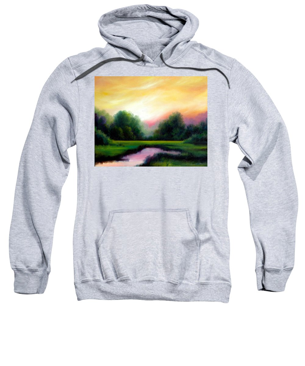 Clouds Sweatshirt featuring the painting A Spring Evening by James Christopher Hill