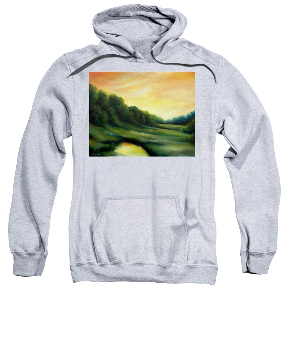 Clouds Sweatshirt featuring the painting A Spring Evening Part Two by James Christopher Hill
