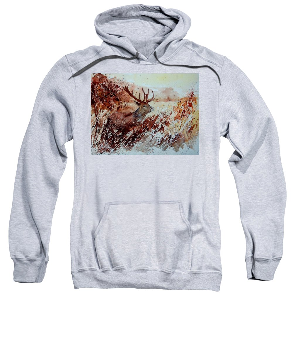 Animal Sweatshirt featuring the painting A Stag by Pol Ledent