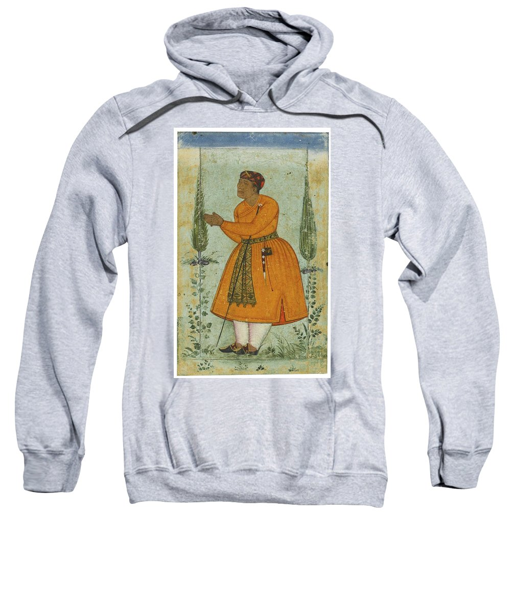 A Standing Portrait Of A Courtier Sweatshirt featuring the painting A Standing Portrait Of A Courtier by Eastern Accents