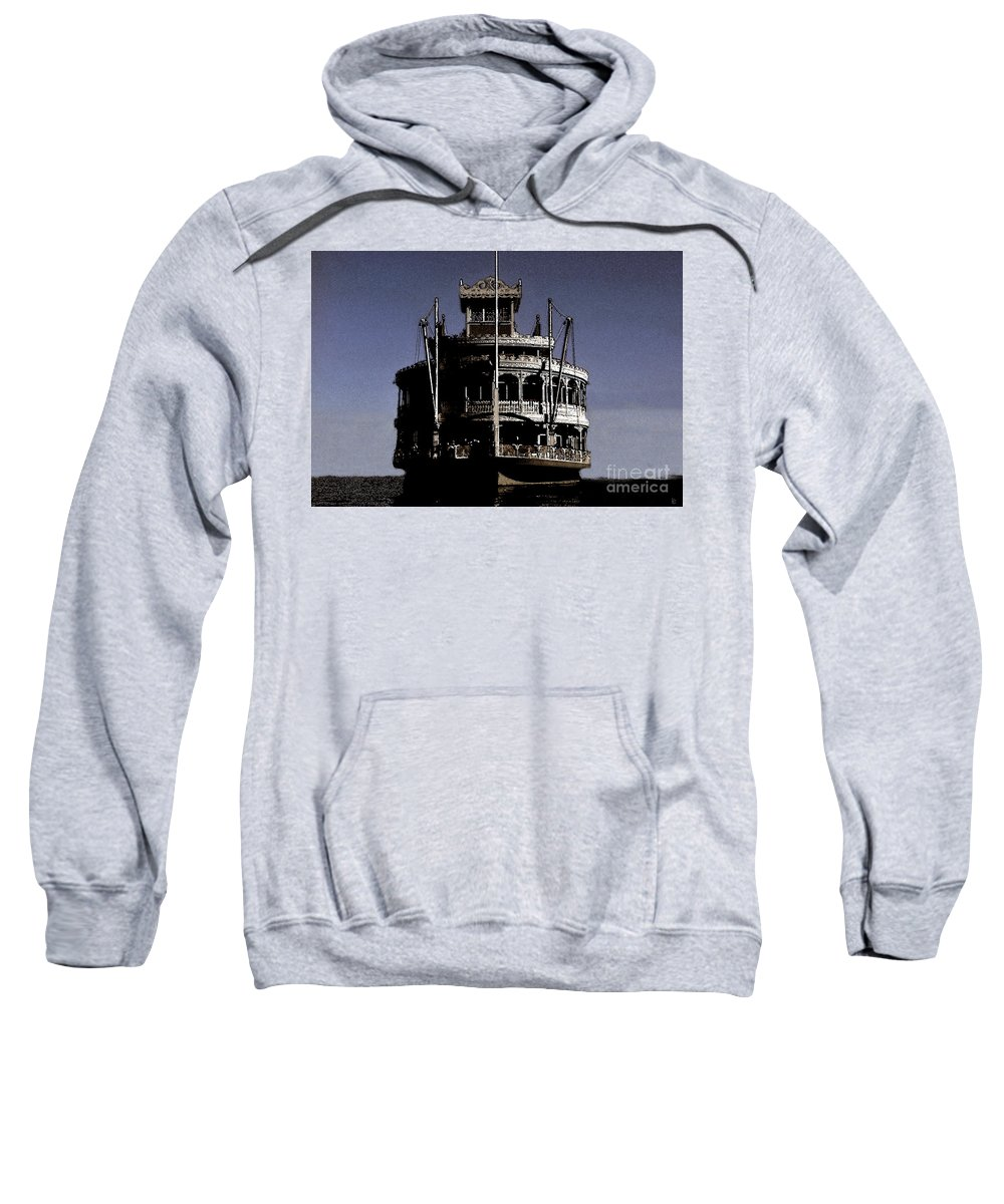 Steamboat Sweatshirt featuring the painting A Steamboat Coming by David Lee Thompson