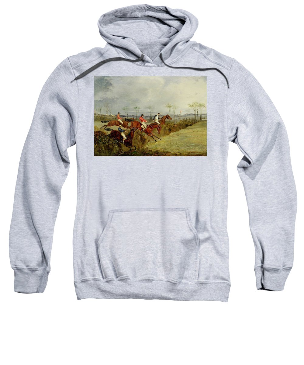 Steeplechase Sweatshirt featuring the painting A Steeplechase - Taking A Hedge And Ditch by Henry Thomas Alken