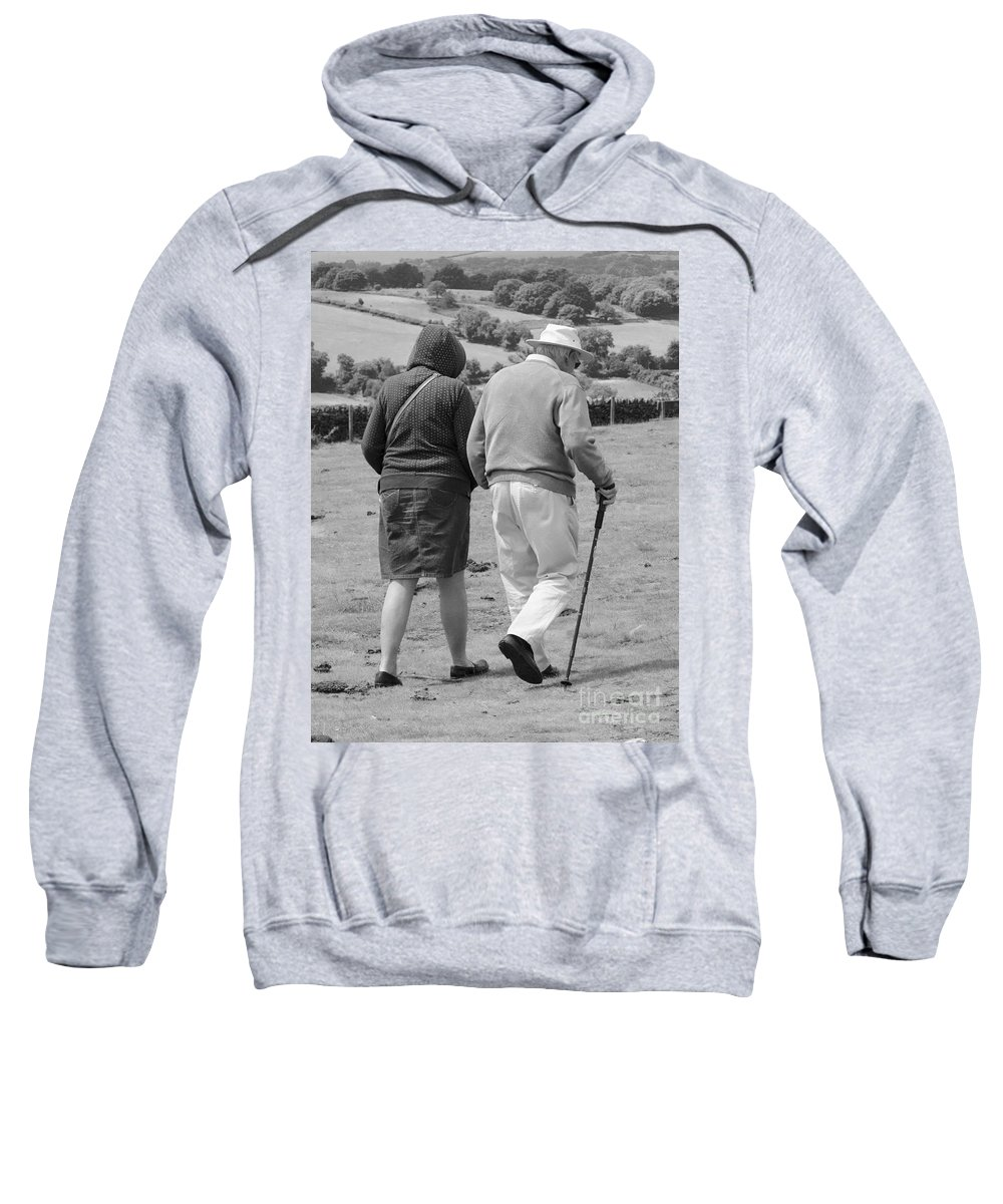 Black And White Sweatshirt featuring the photograph A Sunday Stroll In The Country by Linsey Williams