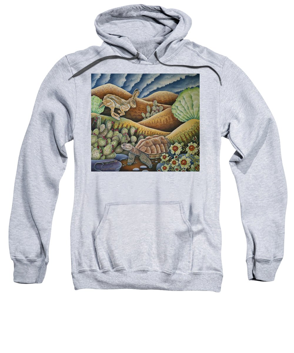 Aesop Sweatshirt featuring the painting A Tribute To Aesop by Jeniffer Stapher-Thomas