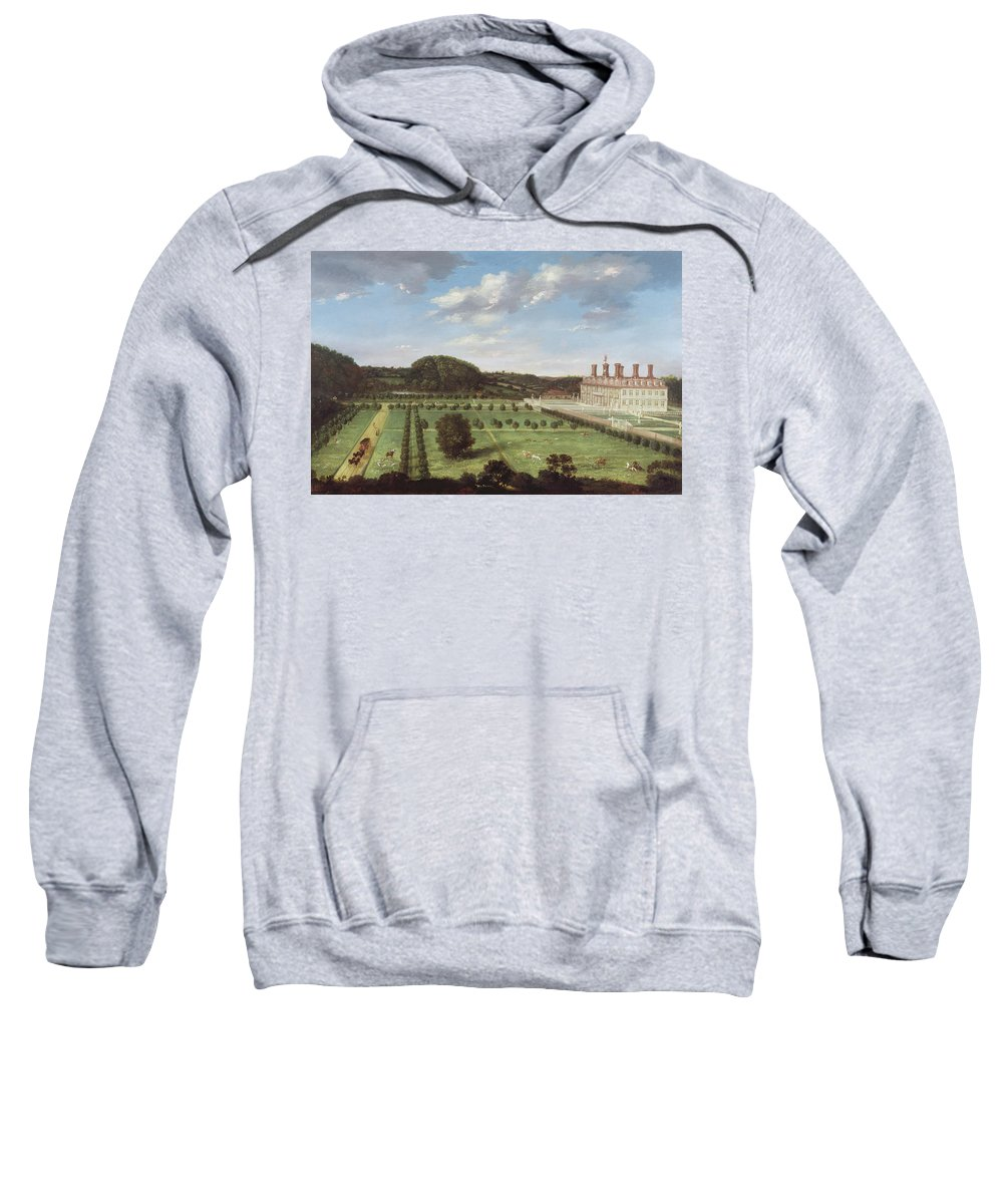 View Sweatshirt featuring the painting A View Of Bayhall - Pembury by Jan Siberechts