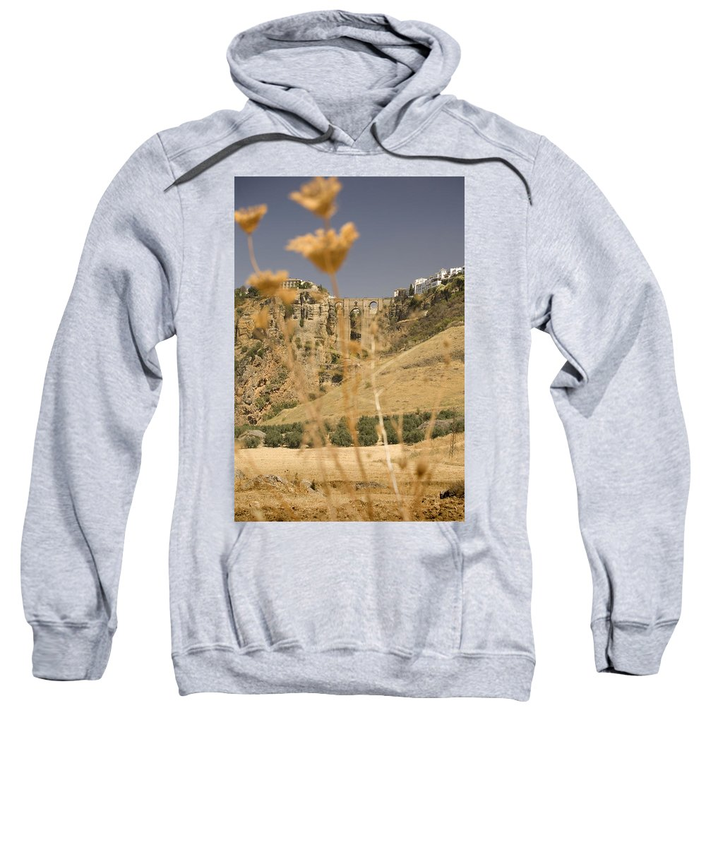 Tajo Sweatshirt featuring the photograph A View Of The Tajo De Ronda And Puente Nuevo Bridge Serrania De Ronda Andalucia Spain by Mal Bray
