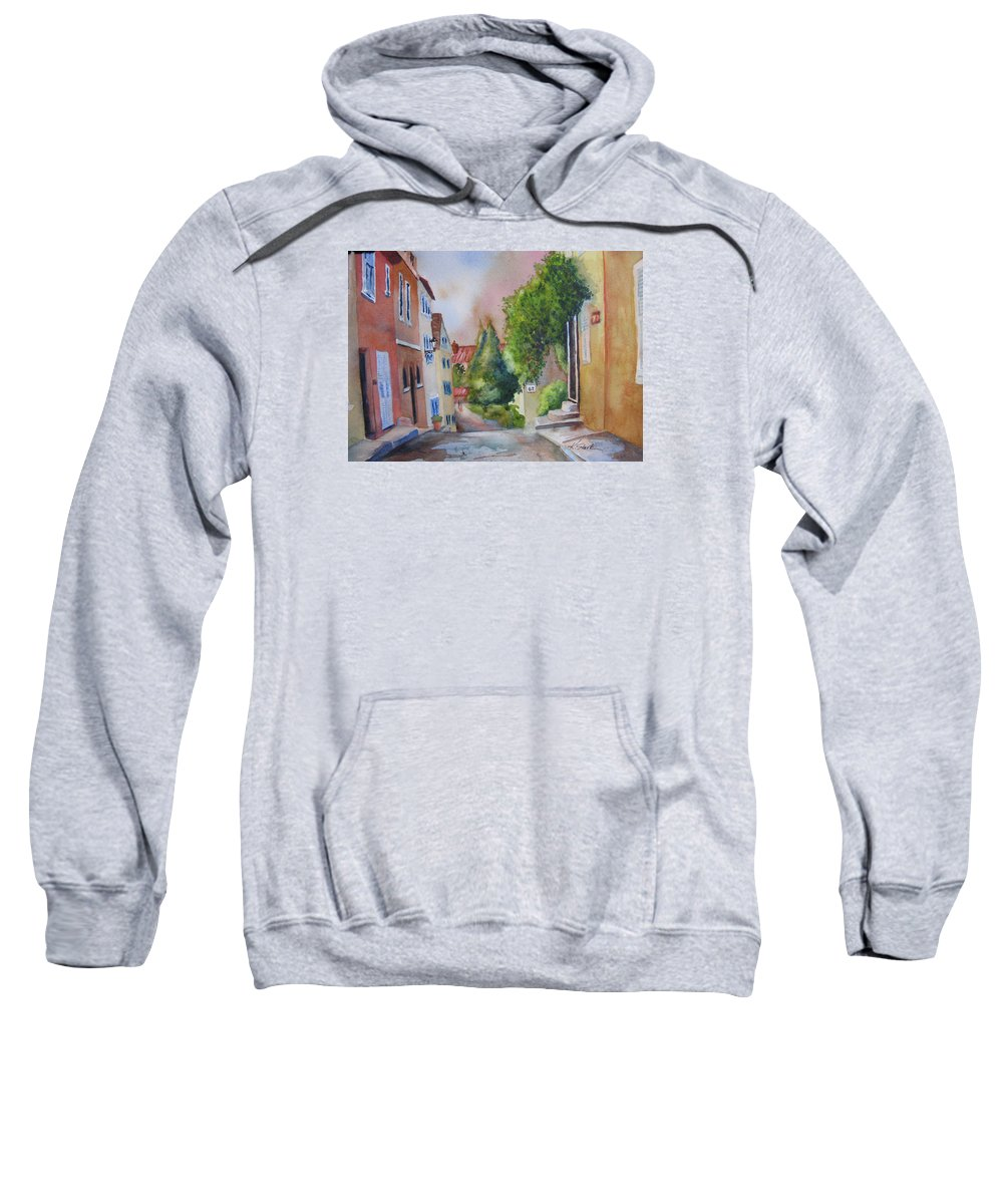 Cityscapes. Architecture Sweatshirt featuring the painting A Walk In The Village by Karen Stark