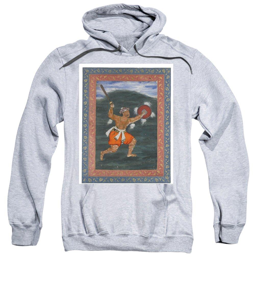 A Warrior Brandishing A Sword Sweatshirt featuring the painting A Warrior Brandishing A Sword by Eastern Accents
