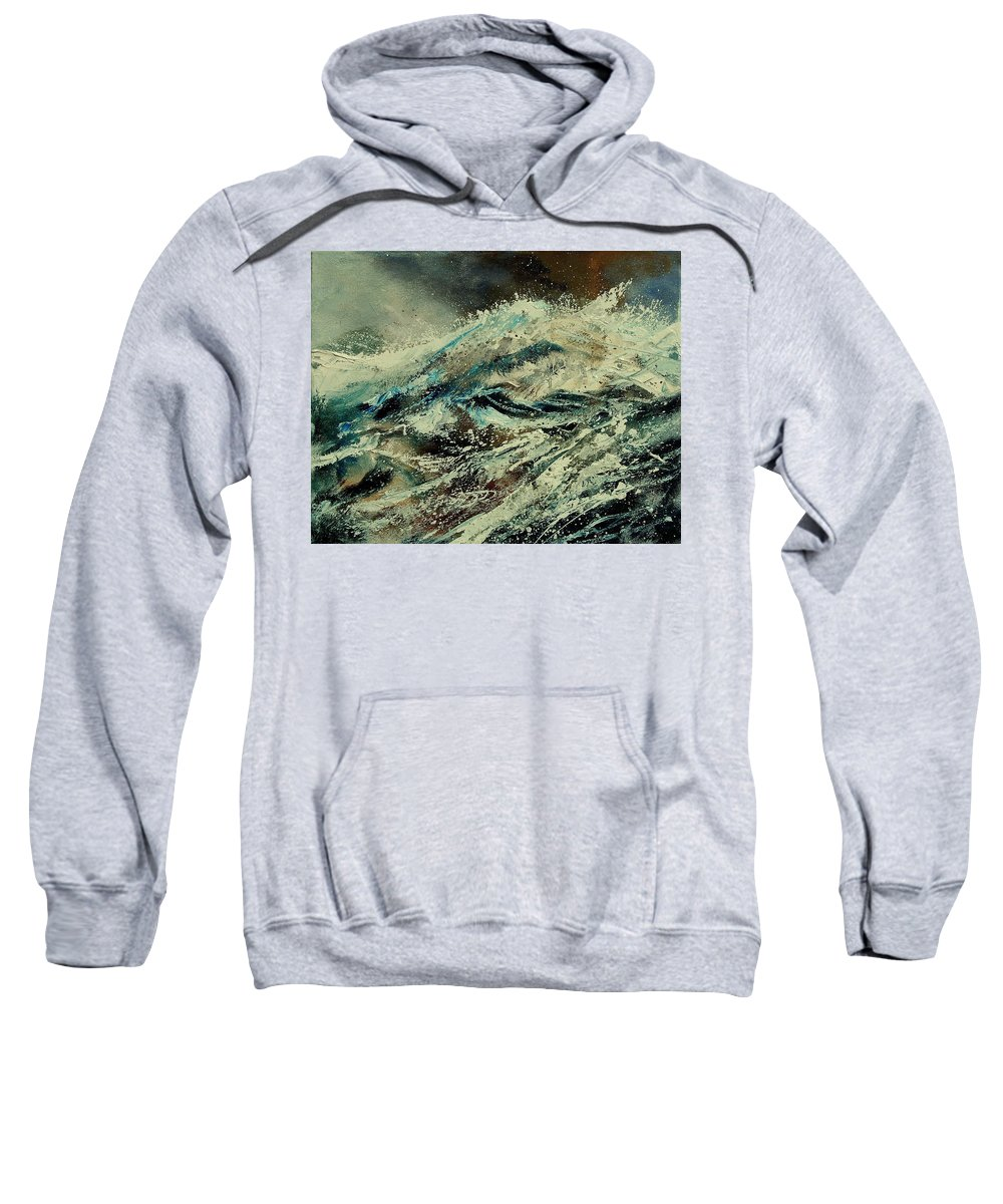 Sea Sweatshirt featuring the painting A Wave by Pol Ledent