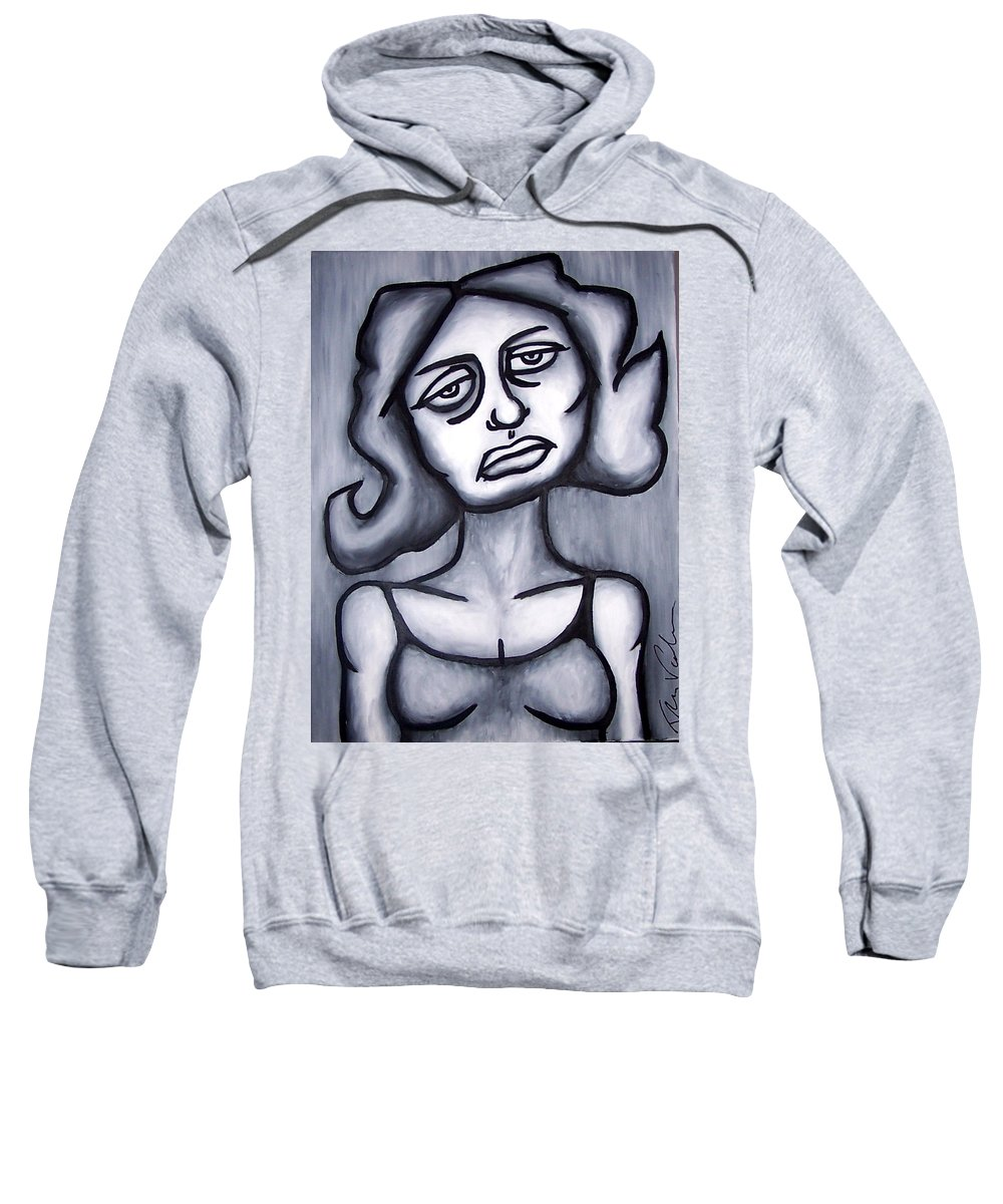 Portait Sweatshirt featuring the painting A Woman by Thomas Valentine