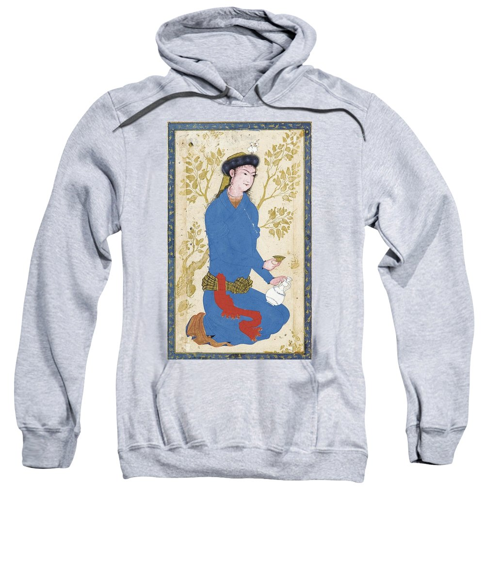 A Youth With Bottle And Cup Sweatshirt featuring the painting A Youth With Bottle And Cup by Eastern Accents