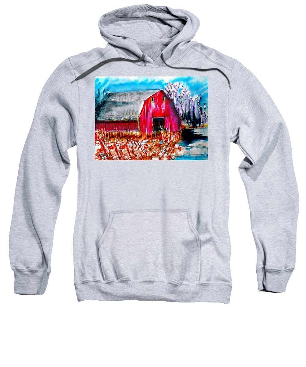 Abandoned Sweatshirt featuring the painting Abandoned Barn by Seth Weaver