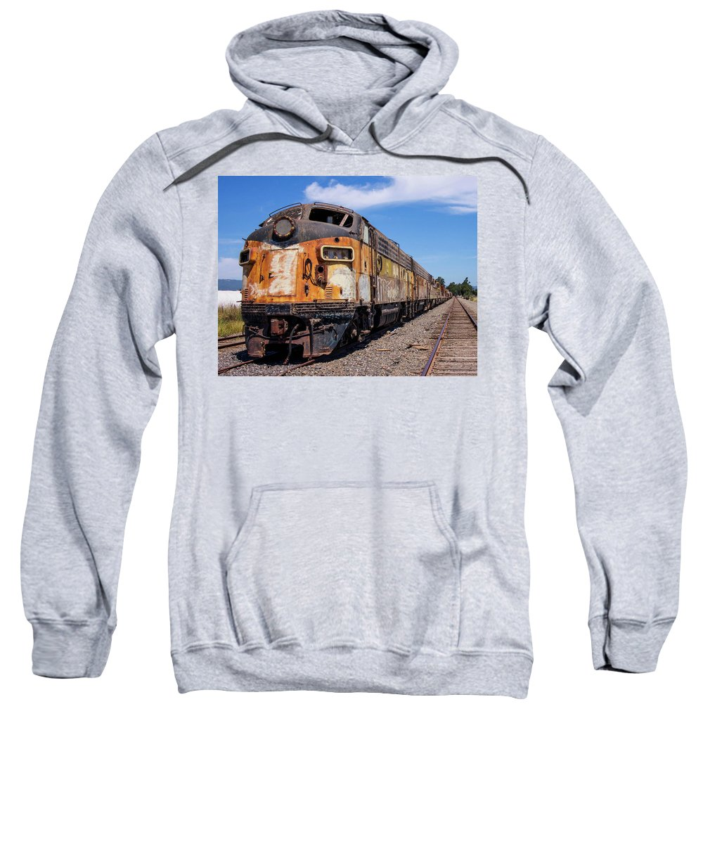 Bessemer And Lake Erie F7 718a And 716b Sit Abandoned And Forgotten About Half A Mille South Of The Schellville Train Station In Sonoma California. They Are Quite A Sight. There Are Several Cars Of Different Sorts Attached To This Train. I Find It To Be Beautiful In It's Own Industrial Way. Sweatshirt featuring the photograph Abandoned Bessemer And Lake Erie Trains Schellville California by Brian Maroevich