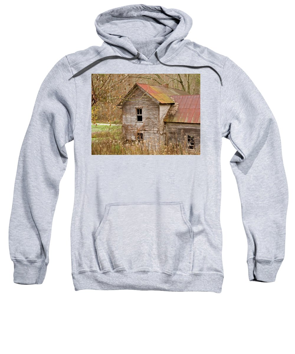 Abandoned Sweatshirt featuring the photograph Abandoned House With Colorful Roof by Douglas Barnett