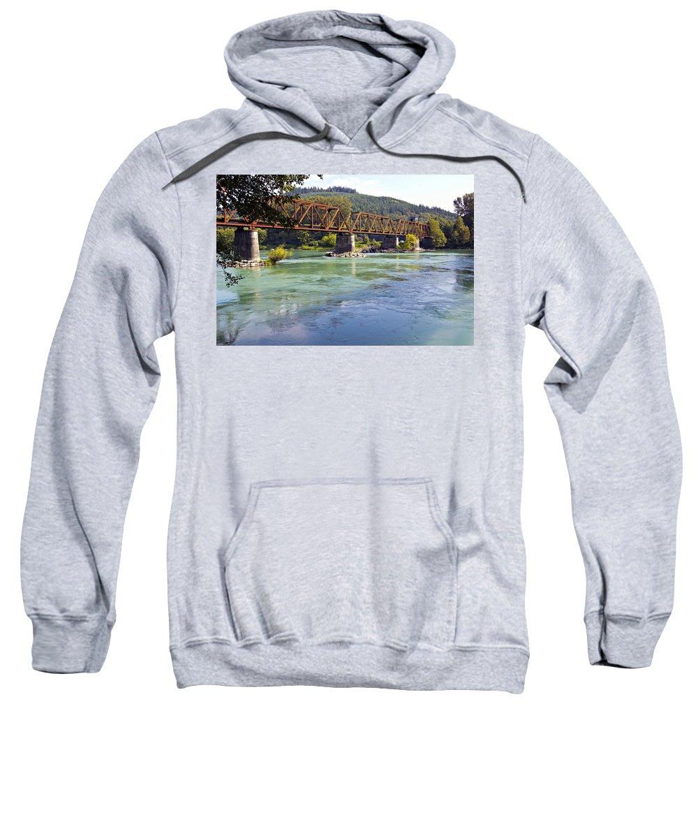 Abandoned Sweatshirt featuring the photograph Abandoned Railroad Bridge by Paul Fell