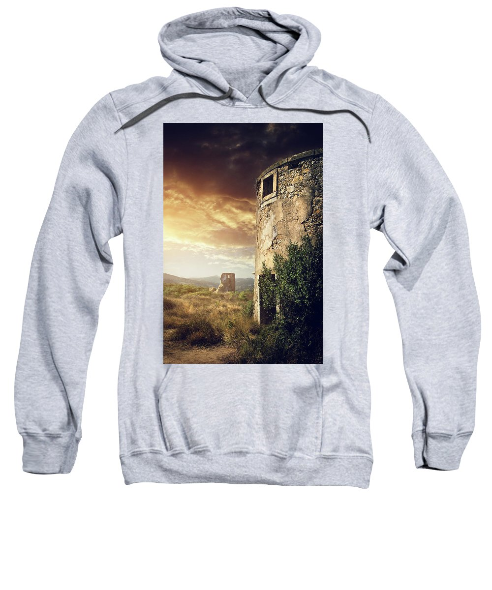Abandoned Sweatshirt featuring the photograph Abandoned Windmills by Carlos Caetano