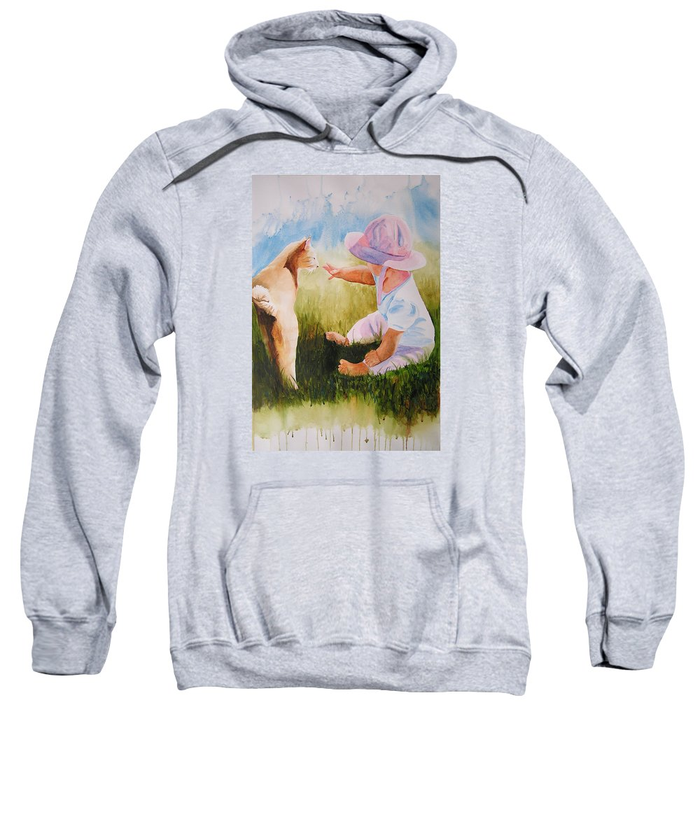Baby Sweatshirt featuring the painting Abbie's Kitty by Karen Stark