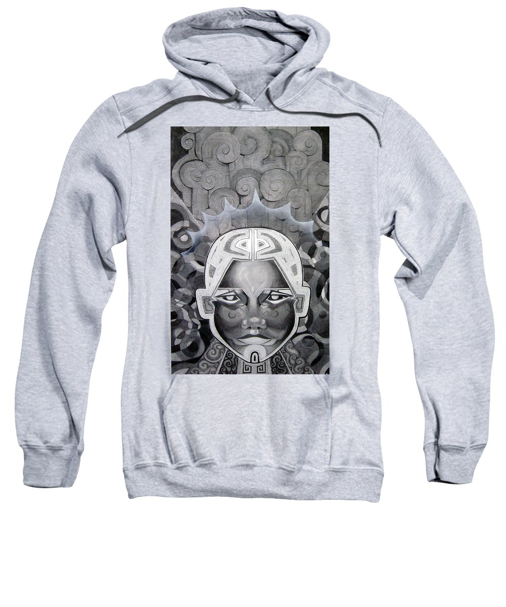 Art Sweatshirt featuring the drawing Abcd by Myron Belfast
