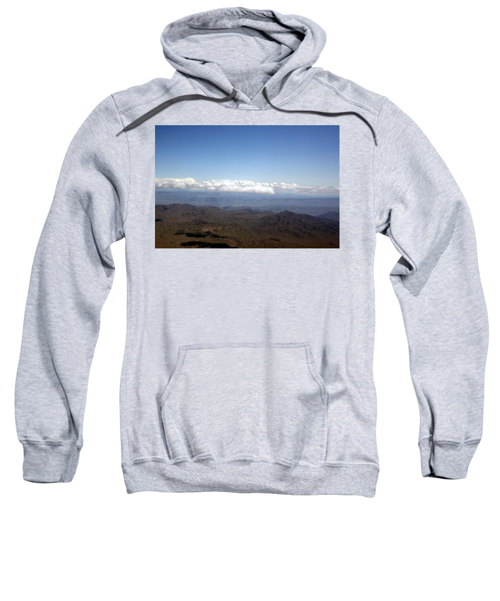 Nevada Desert Clouds Scenery Hills Landscape Sky Canyon Sweatshirt featuring the photograph Above Nevada by Andrea Lawrence