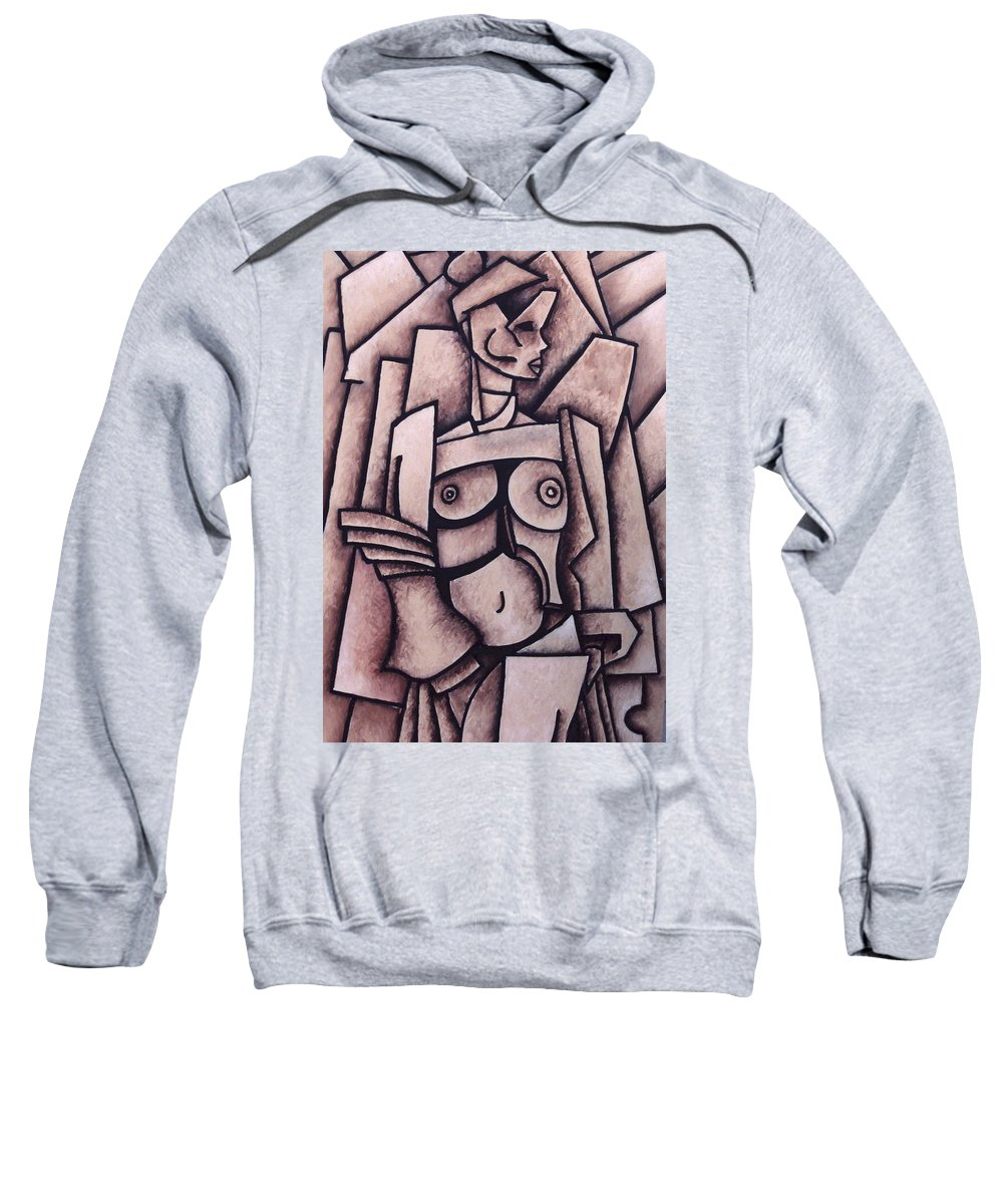 Absract Sweatshirt featuring the painting Absract Girl by Thomas Valentine