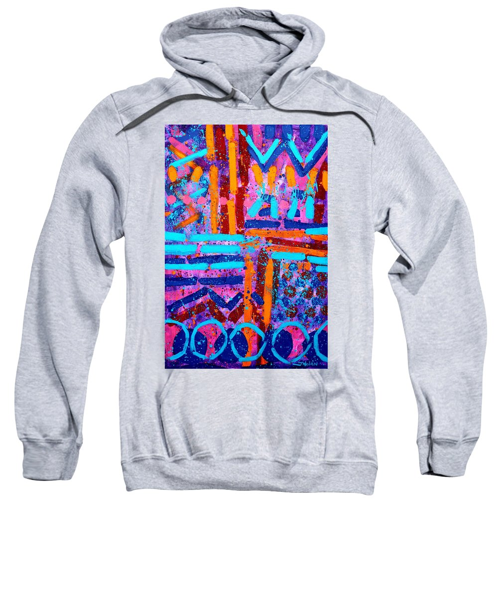 Abstract Sweatshirt featuring the painting Abstract 10316 II by John Nolan