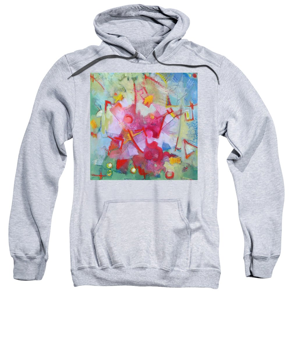 Abstract Sweatshirt featuring the painting Abstract 2 With Inscribed Red by Susanne Clark