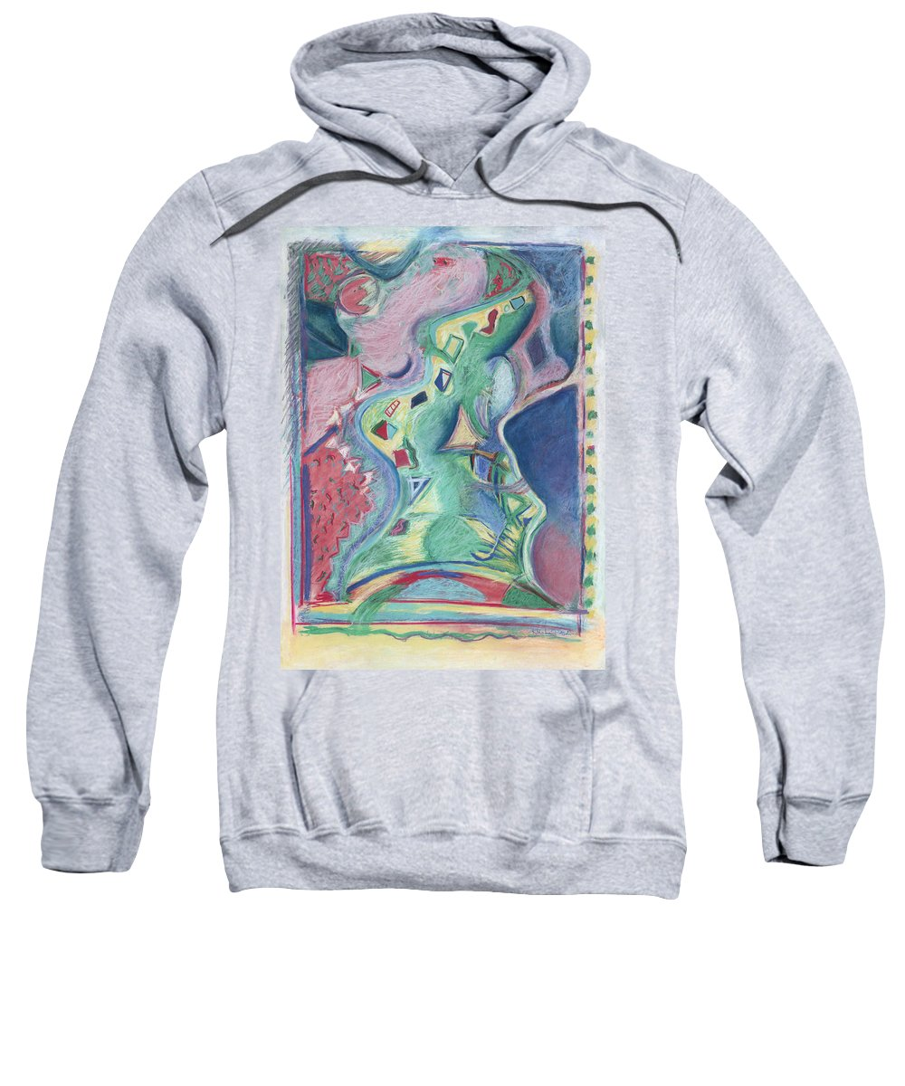 Abstract Sweatshirt featuring the painting Abstract 92 - Inner Landscape by Kerryn Madsen- Pietsch