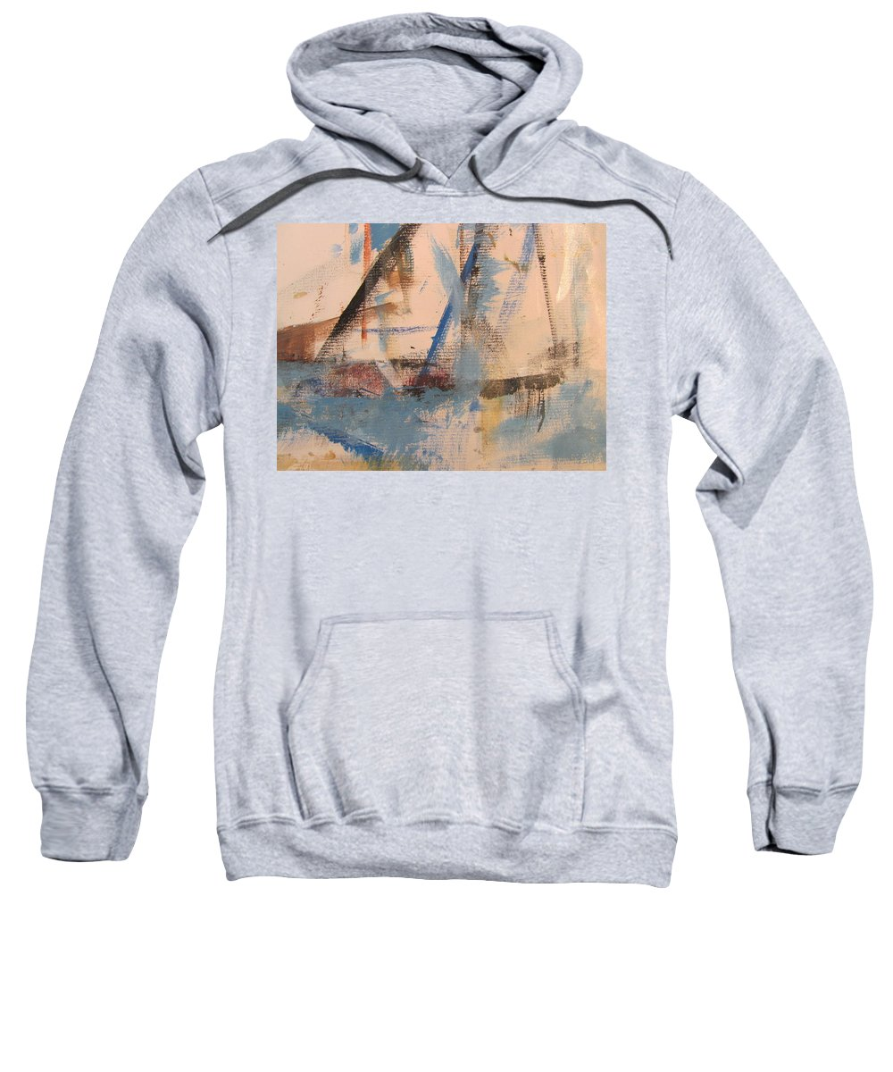Abstract Sweatshirt featuring the painting Abstract At Sea 1 by Anita Burgermeister