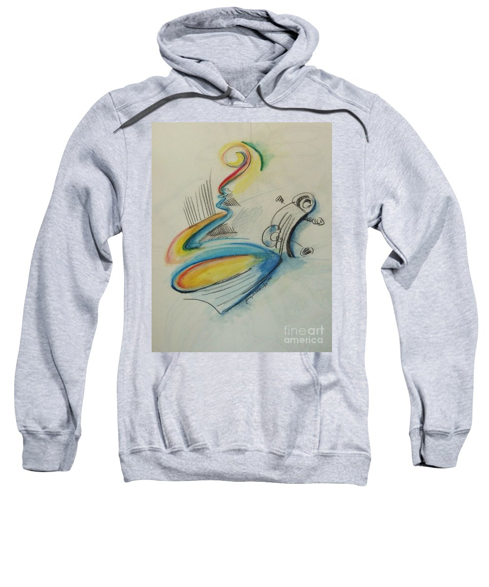 Bass Sweatshirt featuring the drawing Abstract Bass by Jamey Balester