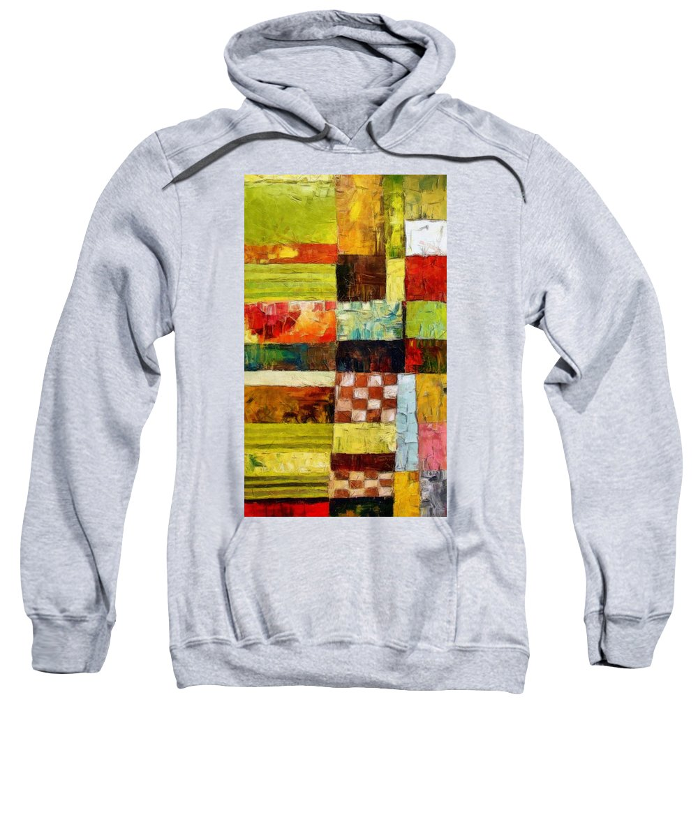 Patchwork Sweatshirt featuring the painting Abstract Color Study With Checkerboard And Stripes by Michelle Calkins