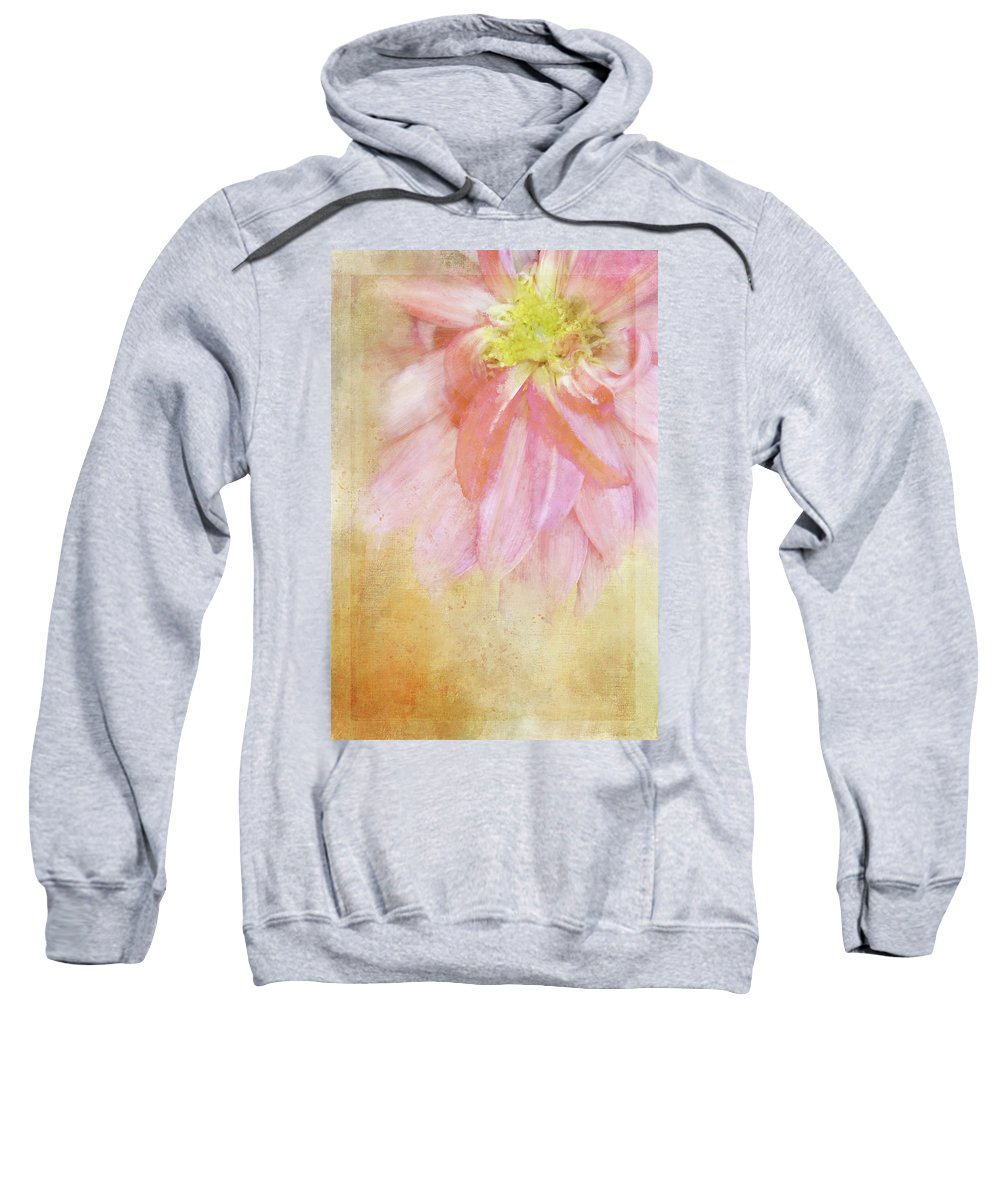 Photography Sweatshirt featuring the digital art Abstract Dahlia In Pink by Terry Davis