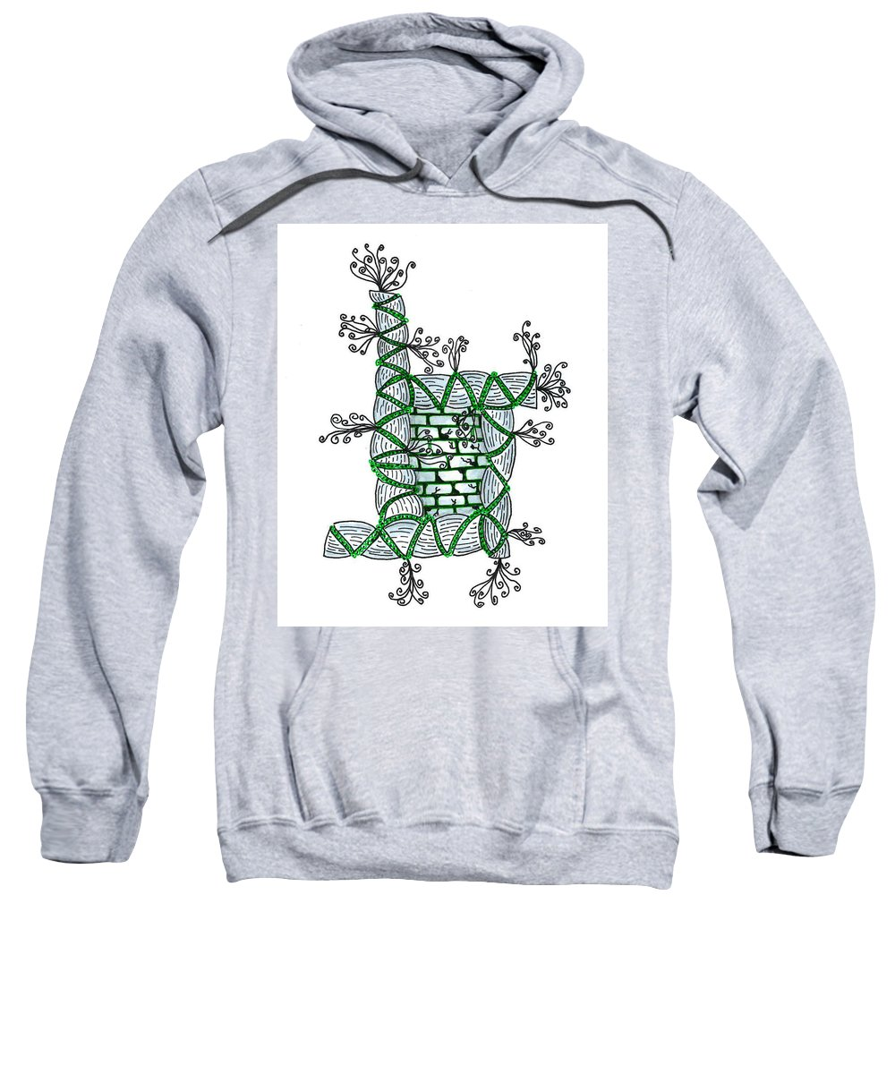 Abstract Sweatshirt featuring the drawing Abstract Design Of Stumps And Bricks #1 by Eric Strickland