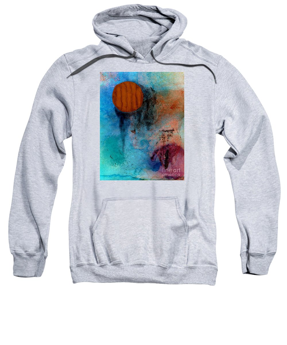 Abstract Sweatshirt featuring the painting Abstract In Blue And Brown by Desiree Paquette