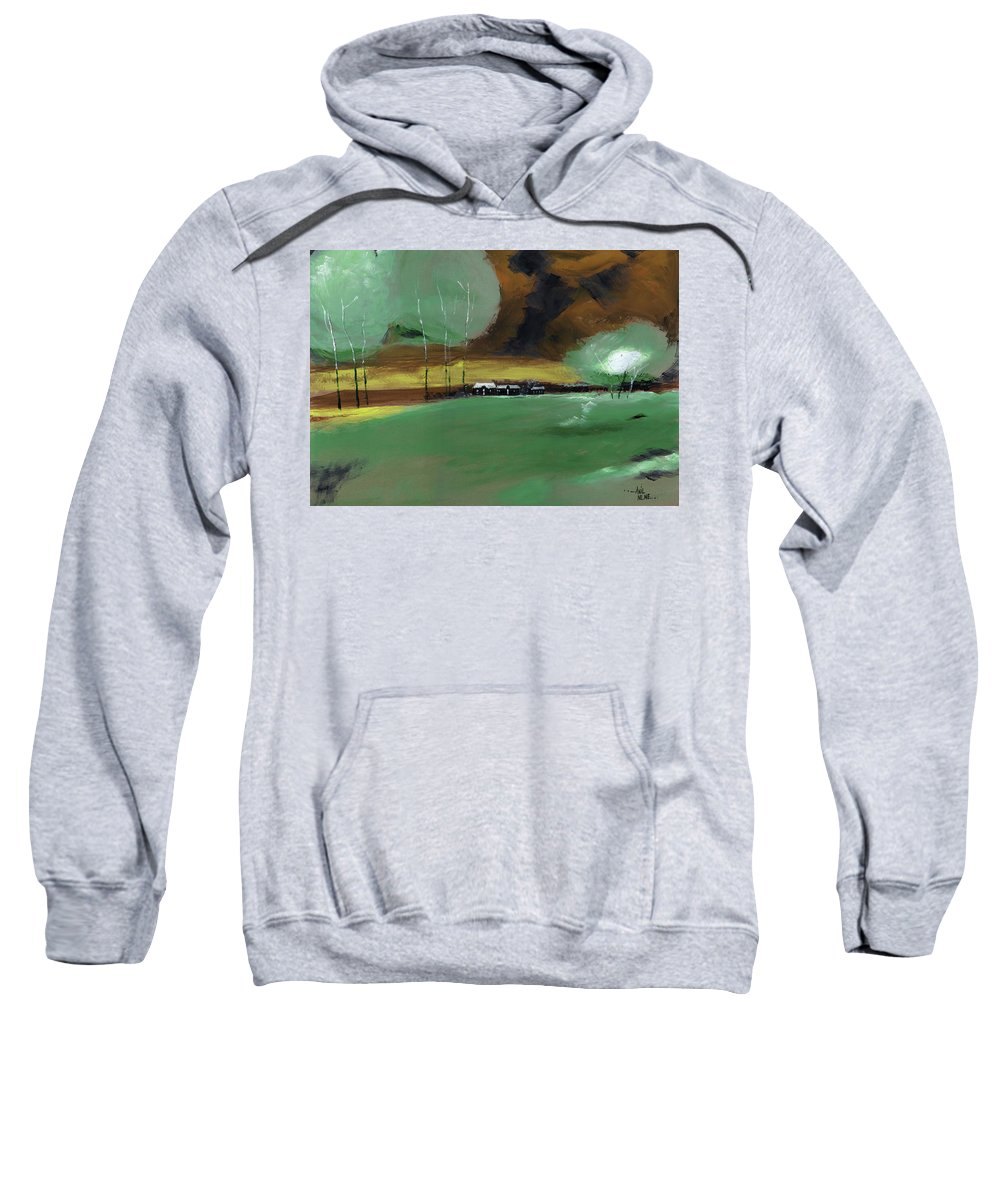 Nature Sweatshirt featuring the painting Abstract Landscape by Anil Nene