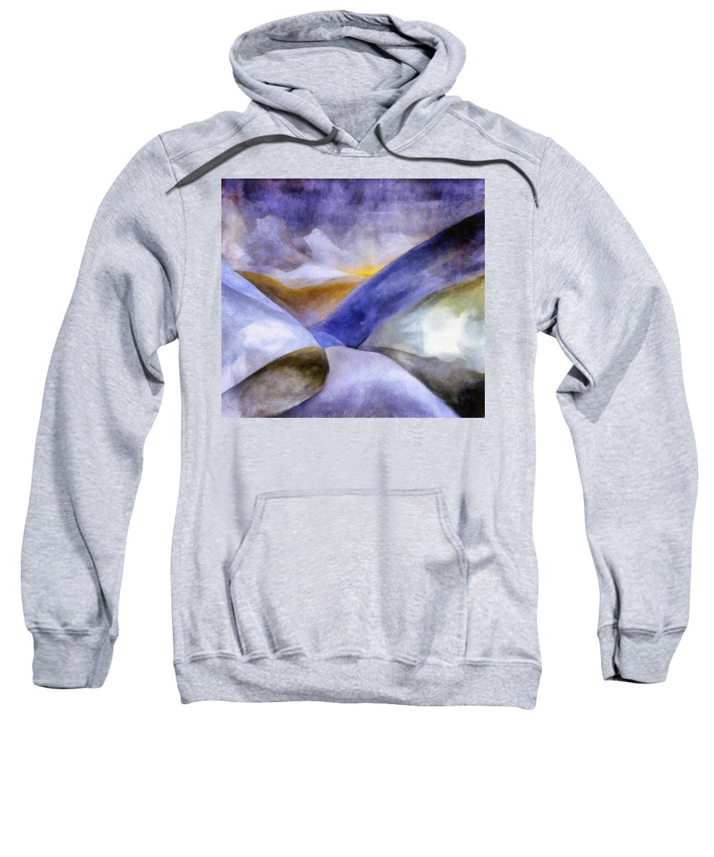 Blue Sweatshirt featuring the painting Abstract Mountain Landscape by Michelle Calkins