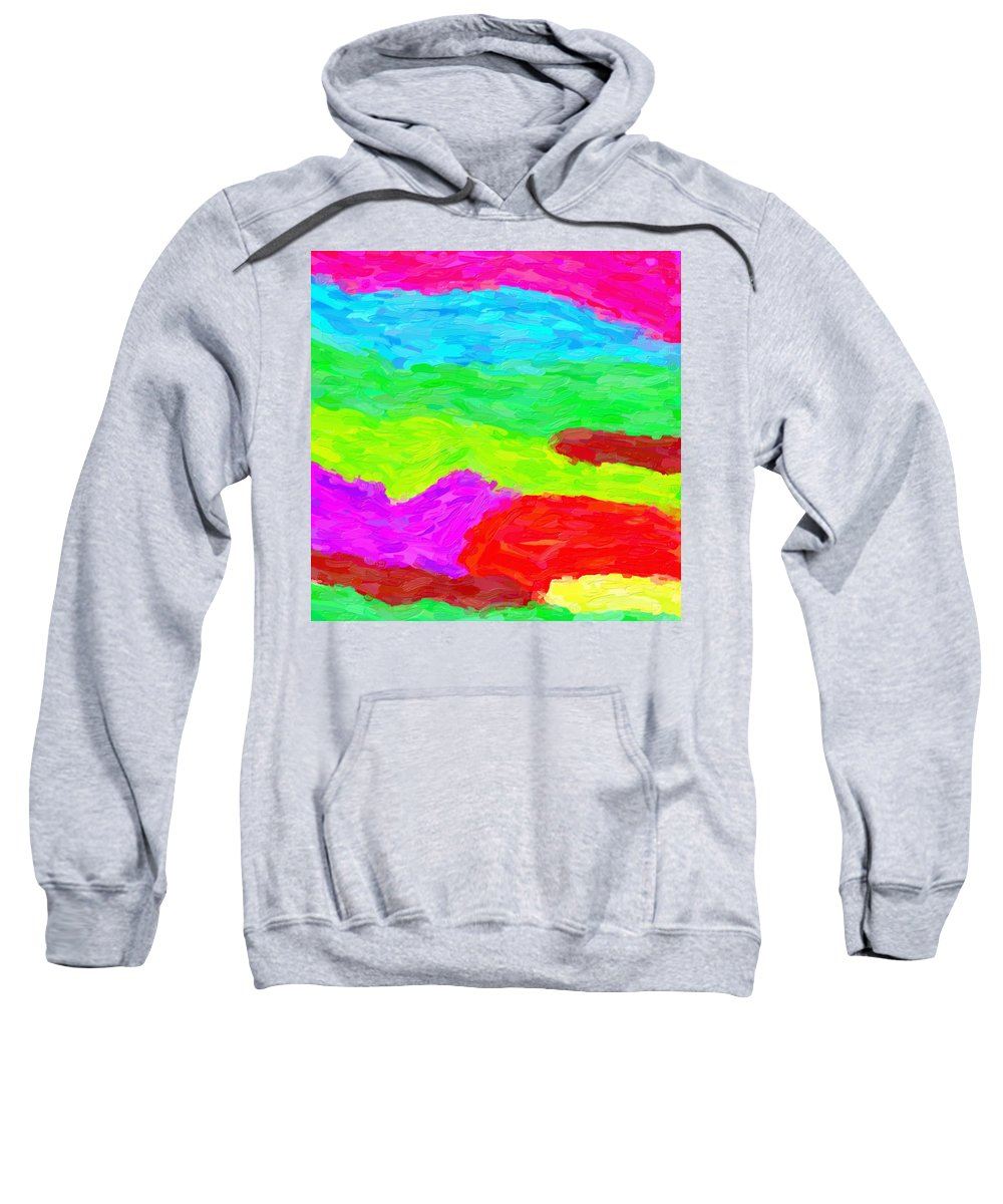 Abstract Sweatshirt featuring the painting Abstract Rainbow Art By Adam Asar 3 by Adam Asar