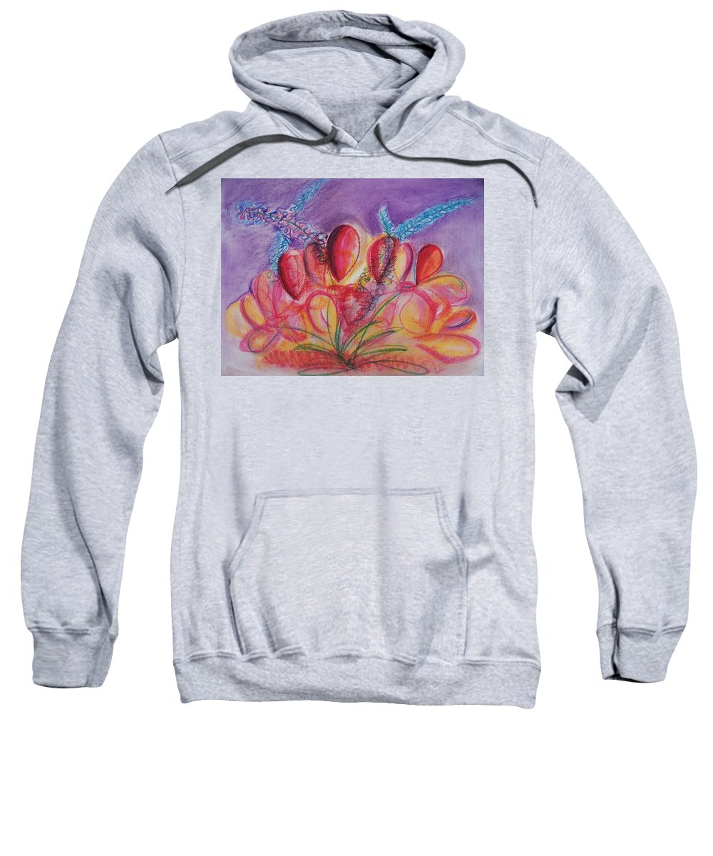 Abstract Sweatshirt featuring the drawing Abstract Red And Purple And Blue by Eric Schiabor
