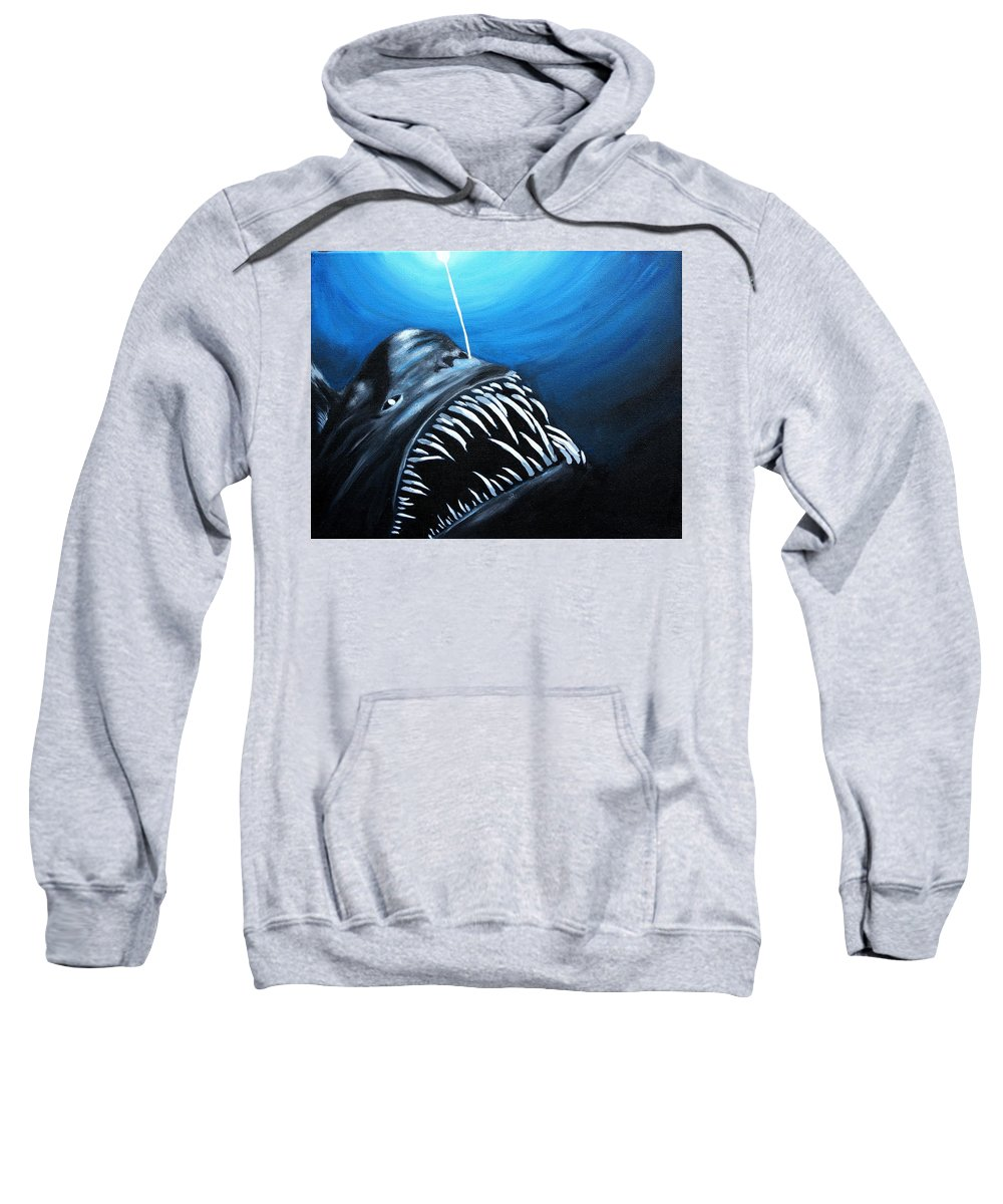 Deep Sea Sweatshirt featuring the painting Abyssal Angler by Kate Powers