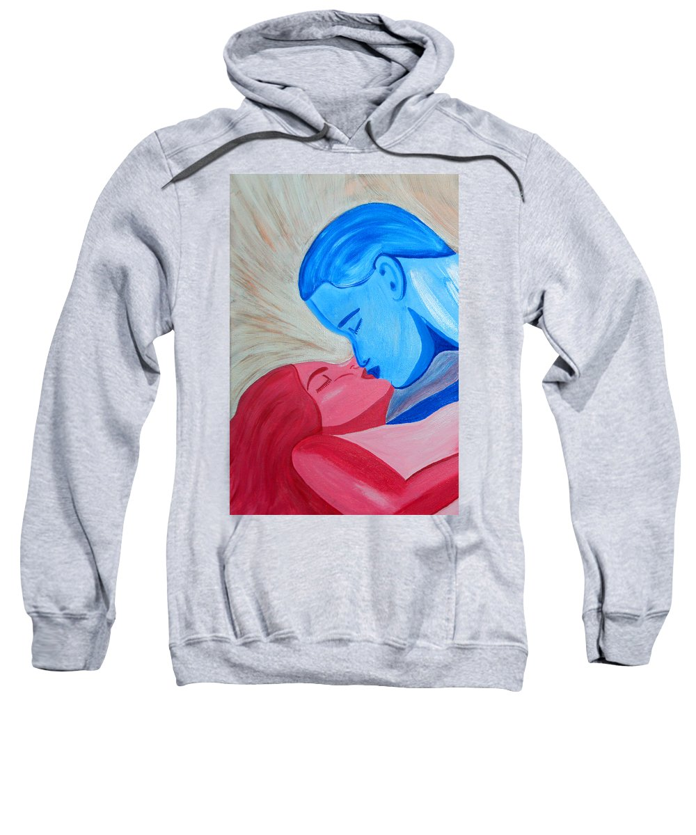 Adam And Eve Sweatshirt featuring the painting Adam And Eve Close Up by Angelina Vick