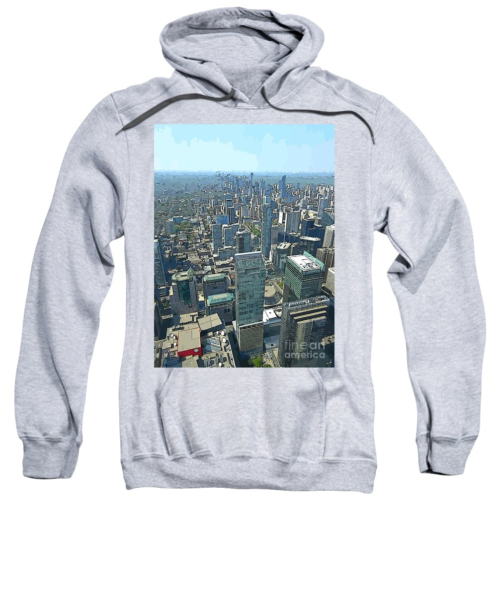 Aerial Abstract Toronto Sweatshirt featuring the painting Aerial Abstract Toronto by John Malone
