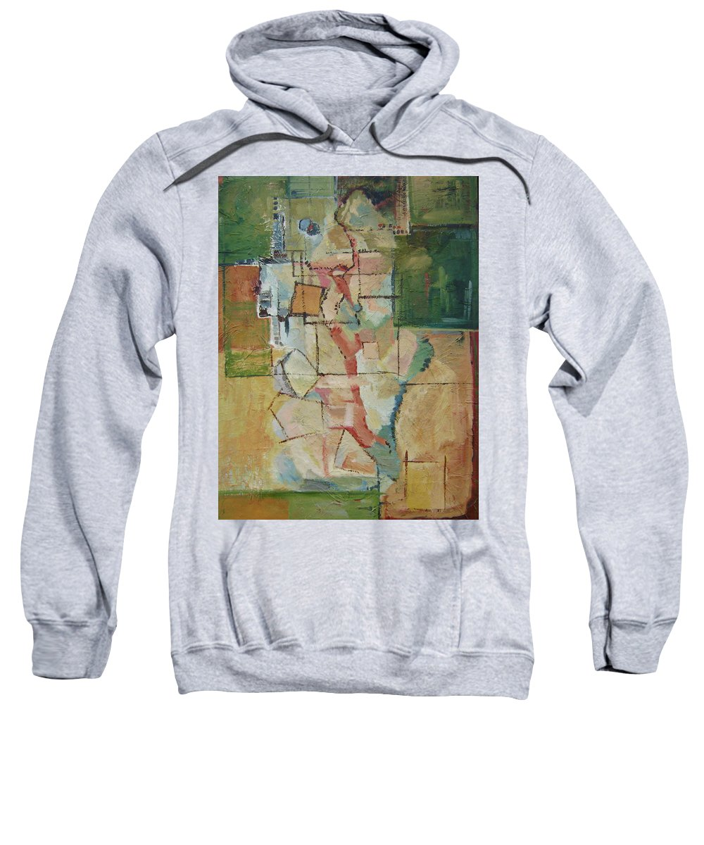 Abstract Art Sweatshirt featuring the painting Aerial by Ginger Concepcion